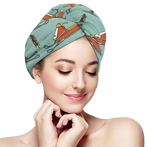 Snowmobiles Vintage Mustard Orange Microfiber Hair Towel Wrap With Button Quick Dry Hair Turban For Women Girls