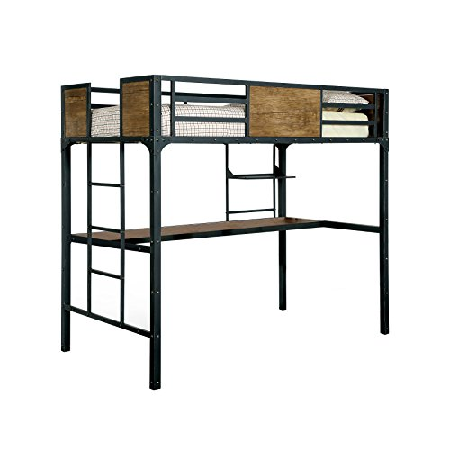 HOMES Inside Out ioHOMES Megyver Two Over Level Industrial Bunk Bed, Twin Over Desk, Black
