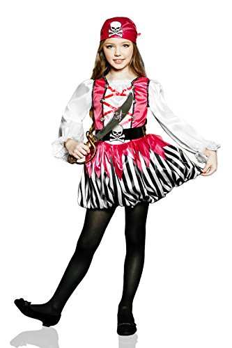 Kids Girls Sweet Pirate Halloween Costume Buccaneer Princess Dress Up & Role Play (3-6 years, red, black,