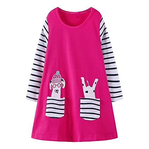 HILEELANG Toddler Girl Dress with Dog Pocket Stripe Long Sleeve Christmas Raindeer Basic Shirt Dress -