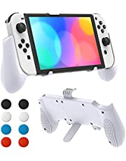 Hand Grip Stand Compatible with Nintendo Switch OLED, YUANHOT Adjustable Comfort Holder Accessories Compatible with Switch/Switch Lite with 8pcs Thumb Grip Caps