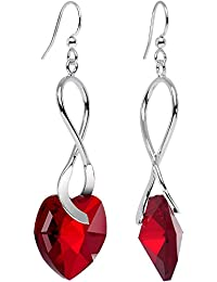 Handcrafted Silver Plated Deep Red Accent Heart Earrings Created with Swarovski Crystals