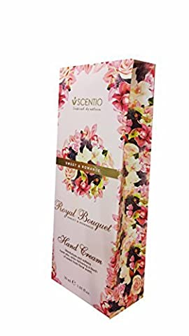 2 packs of SCENTIO Royal Bouquet Sweet & Romance Hand Cream. Moisturizes and softens hand skin, While delivering a touch of sweet fresh floral scent. (1.01 fl.oz./ pack)