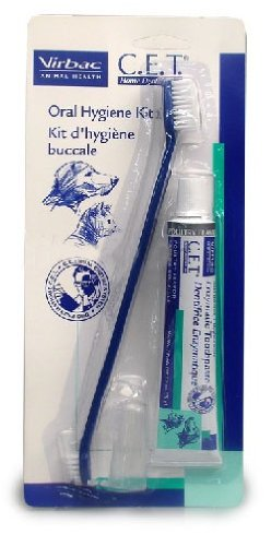 C.E.T. Duel-End Toothbrush, Fingerbrush and Enzymatic Toothpaste Oral Hygiene Kit, My Pet Supplies