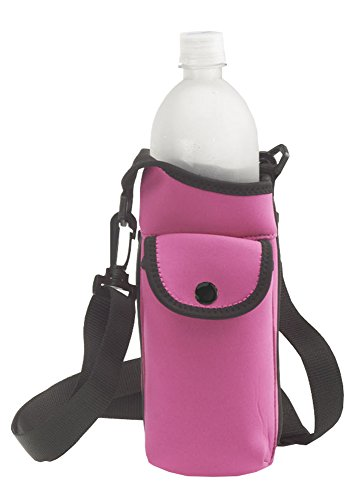 Smooth Trip Neoprene Water Bottle Carrier Bag with Phone Case and Zip Pocket (Pink) ()