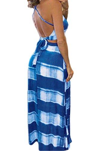De Piezas De Crop De Correa 2 Yacun Falda Beach Vestido Hendidura Blue Tops L Long Mujer De wYq57CB