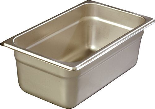 Carlisle 608144 DuraPan Steam Table Pans, Set of 6 (1/4-Size, 4-Inch, Stainless Steel, ()