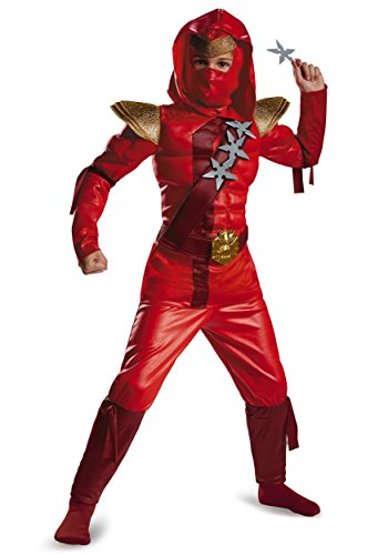 Disguise Red Fire Ninja Classic Muscle Costume, Medium (7-8)
