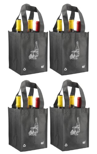 Reusable 4 Bottle Wine Tote- 4 Pack