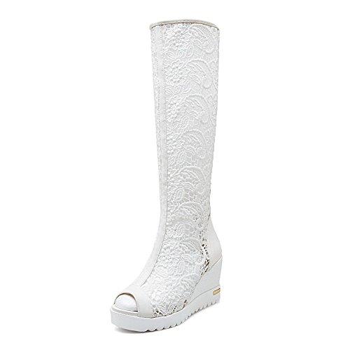 AllhqFashion Womens High-Heels Soft Material Solid Chains Peep Toe Sandals White 2bbbSU55