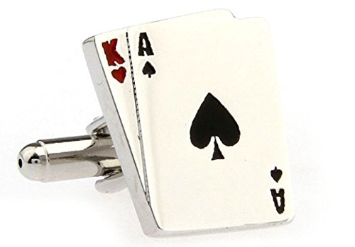 MRCUFF Ace King Blackjack Big Slick Cards Poker Gambling Casino Pair Cufflinks in Presentation Gift Box & Polishing Cloth Playing Cards Cufflinks Set