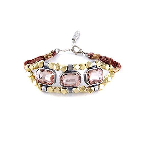 (Blue Pearls - Ettika - Ribbons and Pink Crystal Bracelet - ETK 0152 Rose ETK 0152)