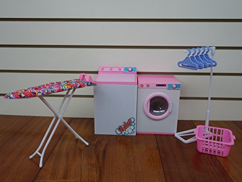 Lowpricenice Barbie-size Dollhouse Furniture- Laundry Room with Iron & Ironing Table