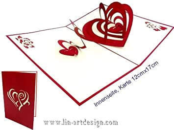 Lin Pop Up Karte 3d Fur Valentinstag Oder Hochzeit Herz In Herzen