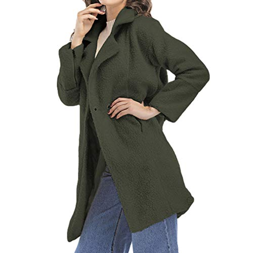 Overcoat Warm Moda Coat Slim Fangcheng Manica Winter Femme Army Outwear Button Green Lungo Woolen Singolo Lunga SwqX8IX