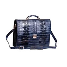 Exclusive Real NAVY Leather Briefcase Mens Business Office Laptop Croc Design Bag ENOCH