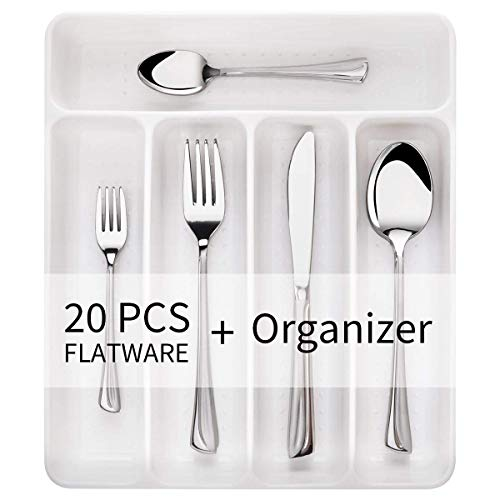 Chefbee 20-Piece Silverware Set, Flatware Cutlery Set Service for 4, Dishwasher Safe Stainless Steel Utensils, Include Knife/Fork/Spoon, Mirror Polished, with 5-Compartment Drawer Organizer Box