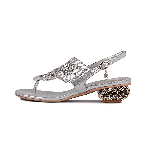 AmoonyFashion Womens Split Toe Buckle Blend Materials Solid Kitten Heels Sandals Silver 28JYv