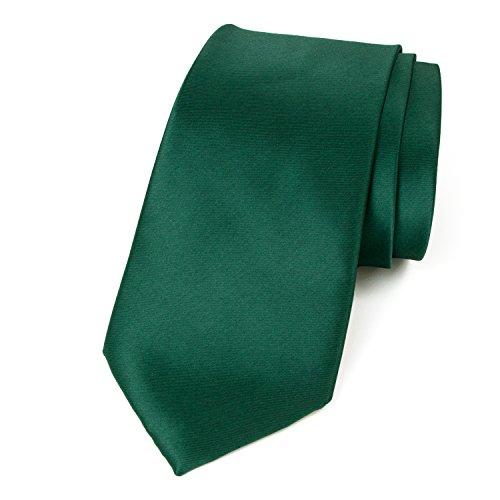 Spring Notion Men's Solid Color Satin Microfiber Tie, Regular Emerald -