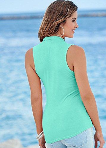 T V 2 Mousseline Cou Vert Shirt Couture Lait Soie Cape Blouse Chemise Extensible D't Manches Femmes Beautisun des xFO1Xgqwq