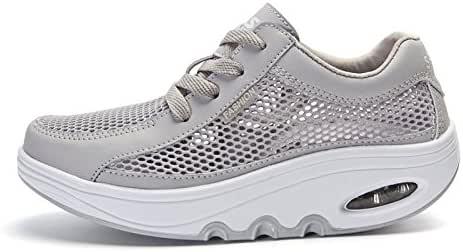 Mujer Sport zapatos scosso Sua Plataforma de zapatos Ascensor zapatos Aire respirabile, Gris, 36: Amazon.es: Deportes y aire libre