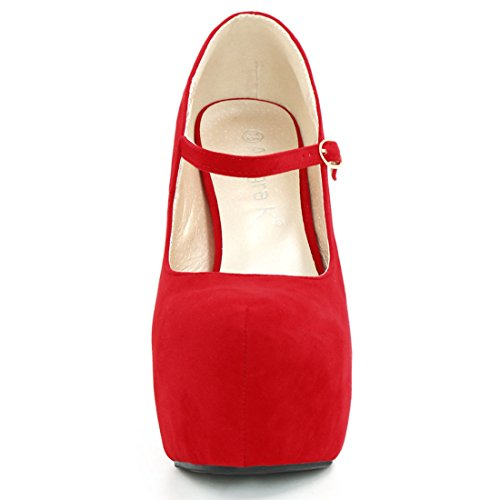 Allegra K Kvinners Chunky Plattform Mary Jane Pumps Rød