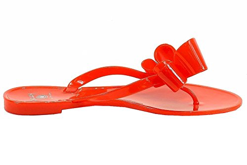 Duizelig Womens Stijl Lounge Mode Gelei Flip Flops Rood