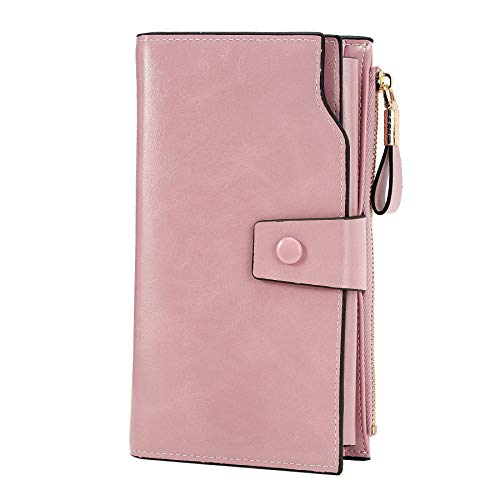 WOZEAH Women's RFID Blocking Large Capacity Luxury Wax PU Leather Clutch Wallet Card Holder Organizer Ladies Purse (pink)
