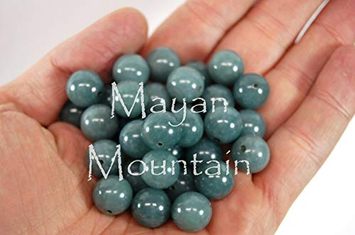 SINGLE BLUE JADEITE BEAD SOLD PER BEAD GUATEMALAN PRINCESSA ROUND 12mm ONE 1