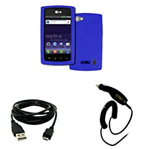 EMPIRE LG Optimus M+ MS695 Silicone Skin Case Cover (Blue) + USB 2.0 Data Cable + Car Charger [EMPIRE Packaging]