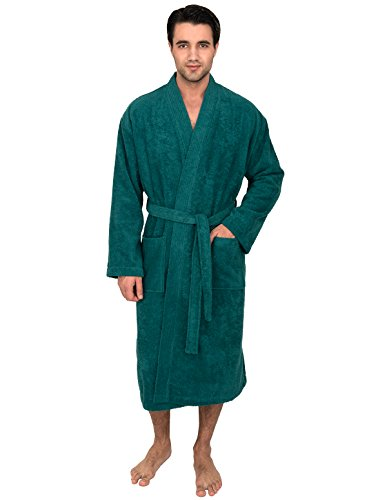 American Standard Wheelchair - TowelSelections Men's Robe, Turkish Cotton Terry Kimono Bathrobe Medium/Large Teal Green