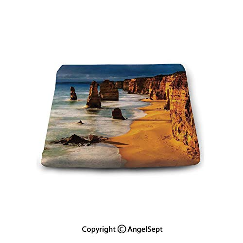 oobon Square Chair Seat Cushion for Kitchen Dining Chairs,Coastal Decor,Twelve Apostles Australia Sunset Great Ocean Road Coast Cliff Washed by Sea Surf Picture,Memory Butt Pad Non Slip (Australia Furniture Wicker Covers)