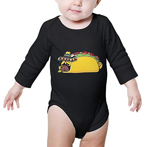 FanYe Unisex Baby Onesies Pug Taco Art Print Cute Long Sleeve Infant Bodysuit