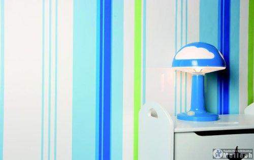 streifen kindertapete tapete blau grün kinderzimmer tapete: amazon ... - Kinderzimmer Grun Und Blau