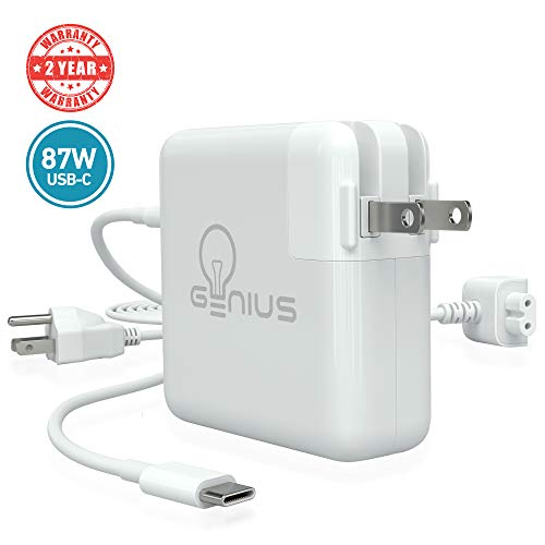 Genius Charger for Apple MacBook Pro 15 2016, 2017, 2018 | 87W USB C Power Adapter Laptop, 6.5f Cord + Free 6ft Cable Extension | No Fraying, No Overheating, Cool to The Touch, 2-Year Warranty