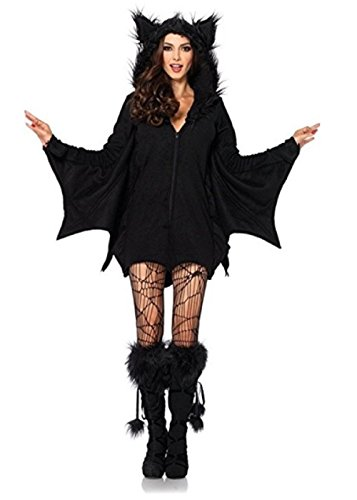 [CICI 18 Black Bat Zipper Costume for Women (Medium)] (Catwoman Deluxe Costume Secret Wishes)