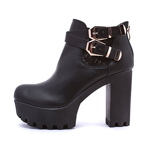 Stivaletti MForshop 6 LY1390 Estivi Pizzo Donna Scarpe Nero Track Tronchetto Carrarmato Shoes rrpCx57qwv