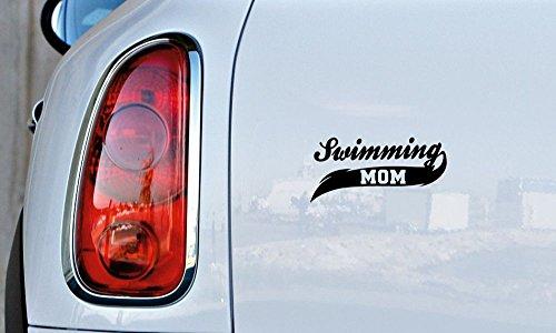 Swimming Mom Banner Car Vinyl Sticker Decal Bumper Sticker for Auto Cars Trucks Windshield Custom Walls Windows Ipad Macbook Laptop and More (BLACK)