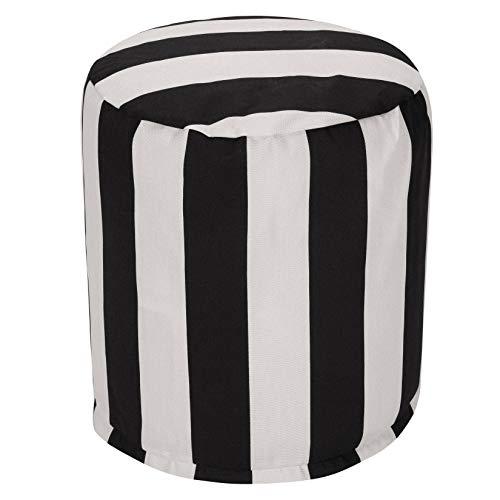 "Majestic Home Goods Black Vertical Stripe Indoor/Outdoor Bean Bag Ottoman Pouf 16"" L x 16"" W x 17"" H"