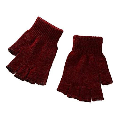 Meiyiu Unisex Plain Basic Fingerless Winter Gloves Black Wine Red