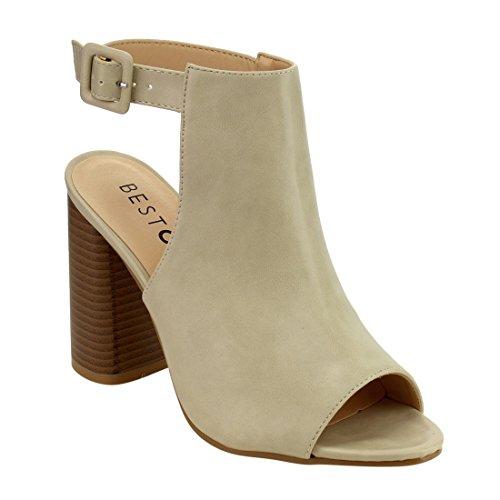 Beston FH22 Women's Peep Toe Slingback Block Heel Ankle Bootie Sandals, Color:NUDE, Size:11