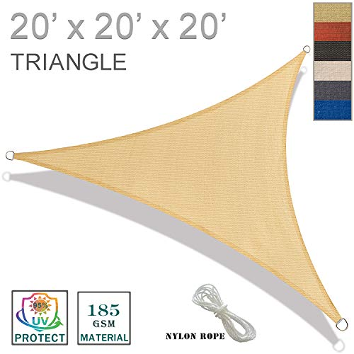 SUNNY GUARD 20' x 20' x 20' Sand Triangle Sun Shade Sail UV Block for Outdoor Patio Garden