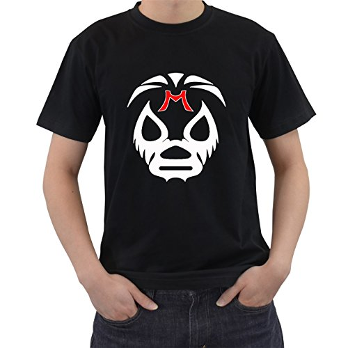 [Wrestler Mil Mascaras Mask T-Shirt Short Sleeve By Saink Black Size L] (Circle Jerk Costume)