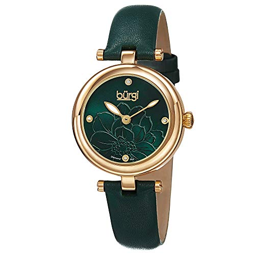 Burgi Women's BUR128GN Diamond Accented Flower Dial Yellow Gold & Green Leather Strap Watch