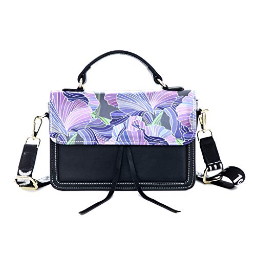 Fashion Unique Handbag Iris Hand Painted Vintage Spring Print Shoulder Bag Top Handle Tote Flap Over Satchel Purses Crossbody Bags Messenger Bags For Women Ladies