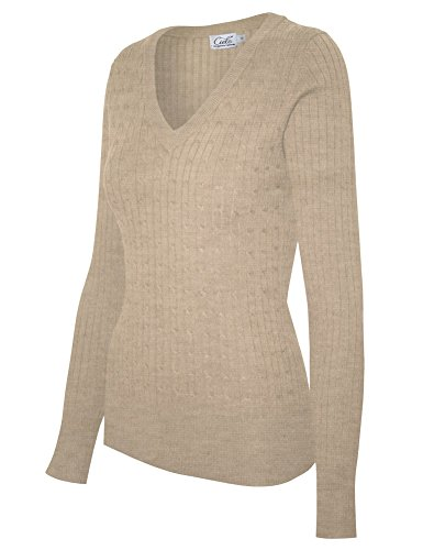 Cielo Women's Basic Solid Stretch V-neck Cable Knit Pullover Sweater Khaki S