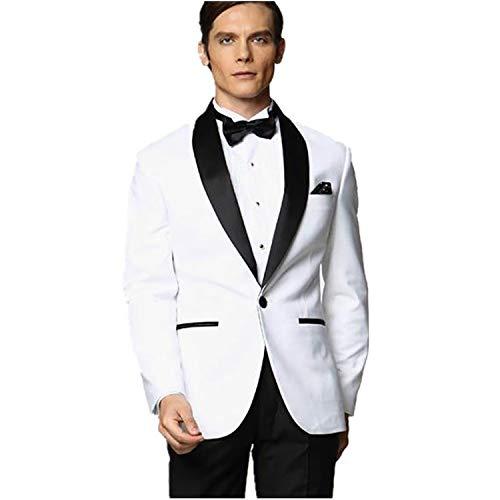 MYS Men's Custom Made Groomsman Tuxedo White Suit Black Pants Bow Tie Set Size 42R