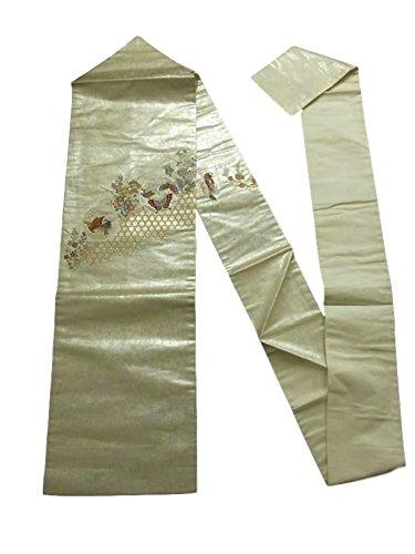 侵略やりすぎたるみリサイクル 名古屋帯  竹垣に鴛鴦や蝶 秋草 青銅箔