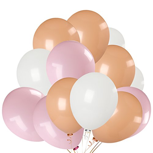 100Pcs Pastel Champagne & Pink & White Color Latex Balloons,Bachelorette Wedding Hawaii Birthday Baby Shower Party Decoration Supplies by LeeSky