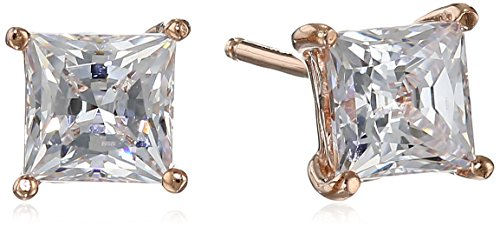 (Rose Gold Plated Sterling Silver Stud Earrings set with Princess Brilliant Cut Swarovski Zirconia (1 cttw))